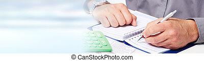 účetní, ruce, kalkulačka