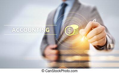 účetnictví, concept., účetnictví, finance, bankovnictví, kalkulace, povolání