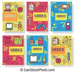 úřad, geeks, moderní, ono, banners., flyear, vývojka, projekt, technika, set., sklady, kniha, šablona, osvětlení, plakát, pracoviště, deska, brožura, řádka, historka, nárys, vektor, hubený, karta, profesionál