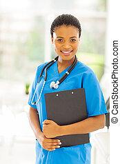 úřad, lékařský, americký, samičí afričan, profesionál