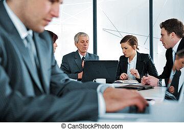 úřad, povolání, počítač na klín, typing, hlášení, setkání