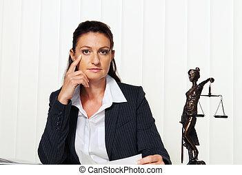 úřadovna., obhajovat, řád, advokát, právo