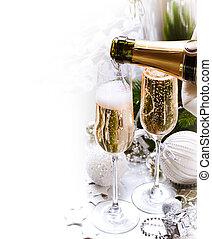 újév, celebration.champagne