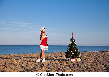 újév, karácsonyfa, tengerpart menedékhely, tenger, leány