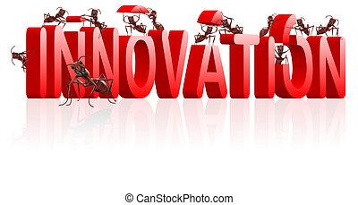 újítás, feltalál, kutatás