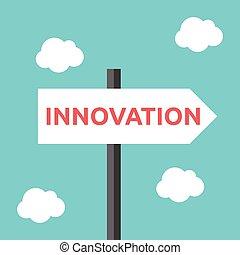 újítás, irány, út cégtábla