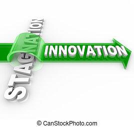 újítás, vs, stagnálás, -, kreatív, cserél, kontra, helyzet,...