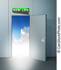 új élet, ajtó, fordíts, ég
