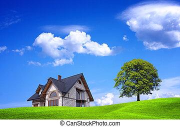 új épület, és, zöld, környezet