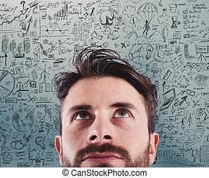 új ügy, kreatív, gondolat, közül, egy, terv