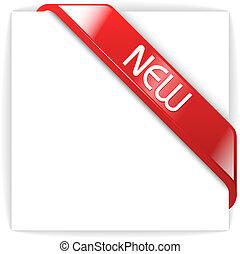 új, üveges, piros, sarok, szalag