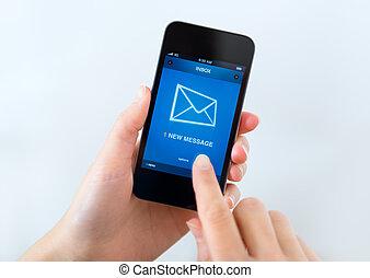 új, üzenet, képben látható, mobile telefon