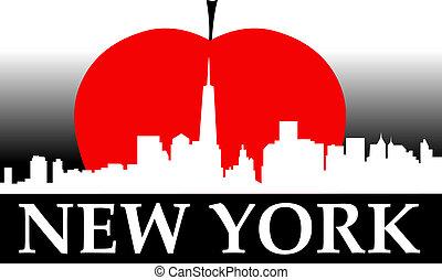új, alma, nagy, york
