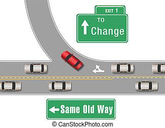 új, autók, öreg, cserél, irány