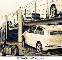 új, autók, szállítmányozó