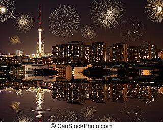 új, berlin, előest, év