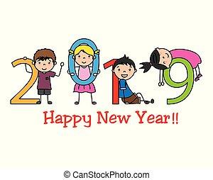 új, boldog, 2019, év
