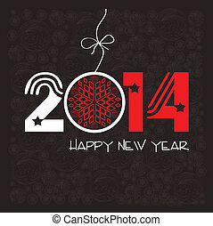 új, boldog, köszönés kártya, év
