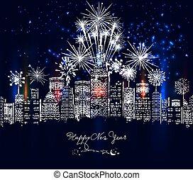 új, boldog, színpompás, város, év