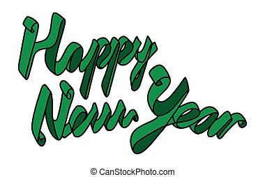 új, boldog, szalag, év