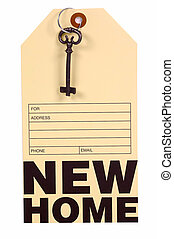új, címke, otthon