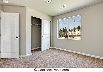 új, carpet., szoba, üres, nyersgyapjúszínű bezs