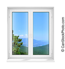 új, csukott, műanyag, pohár ablak, keret, elszigetelt