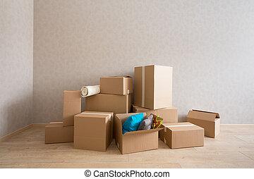 új, dobozok, kartonpapír, szoba, üres