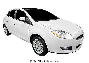 új, fehér, autó