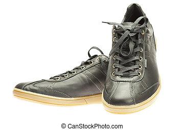 új, fekete, gumitalpú cipő, elszigetelt, white