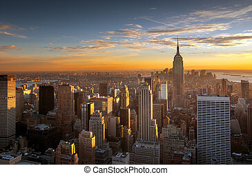 új, felett, napnyugta, york, város