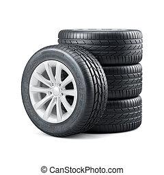 új, felhasználatlan, autó, gumiabroncsok, noha, rims, elszigetelt