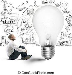 új gondolat, közül, egy, üzletember