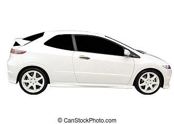 új, gyorsan, fehér, autó, elszigetelt