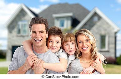 új, home., család, boldog