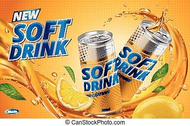 új, ital, citrom, lágy