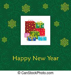 új, kártya, év