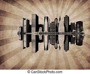 új, kép, grunge, láthatár, york