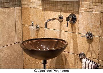 új, klasszikus, gyönyörű, fürdőszoba, otthon, fényűzés, modern