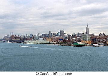 új, láthatár, épületek, york