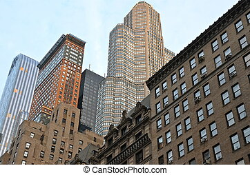 új, láthatár, város, manhattan, york