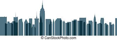 új, láthatár, város, york, áttetsző