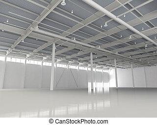 új, modern, üres, raktár