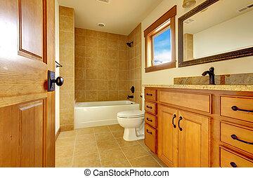 új, modern, gyönyörű, fürdőszoba, alatt, luxury saját, interior.
