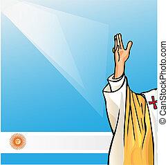 új, pápa, noha, argentina lobogó