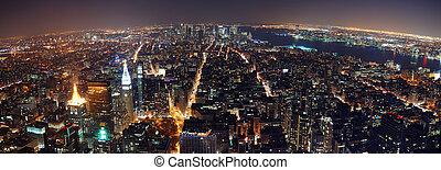 új, panoráma, város, york