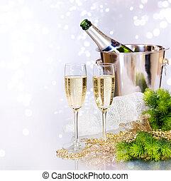 új, pezsgő., év, ünneplés