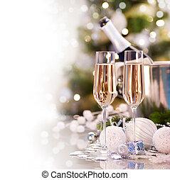 új, pezsgő, tervezés, kártya, év