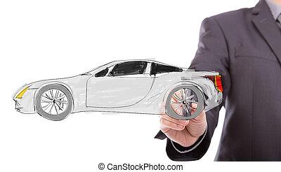 új, rajzol, kéz, ügy, autó