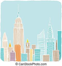 új, skicc, york, karikatúra, város